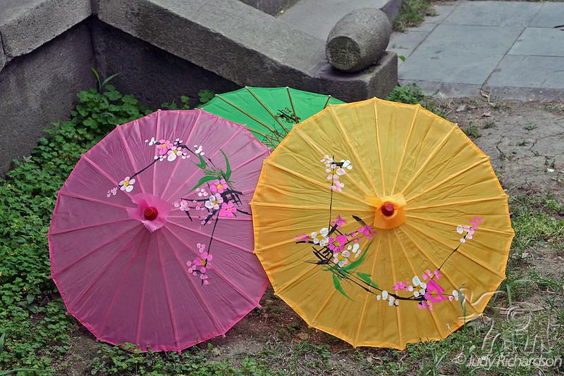 Colorful umbrellas at tea ceremony