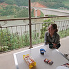 Breakfast at our motel, right next to the Mekong River bridge