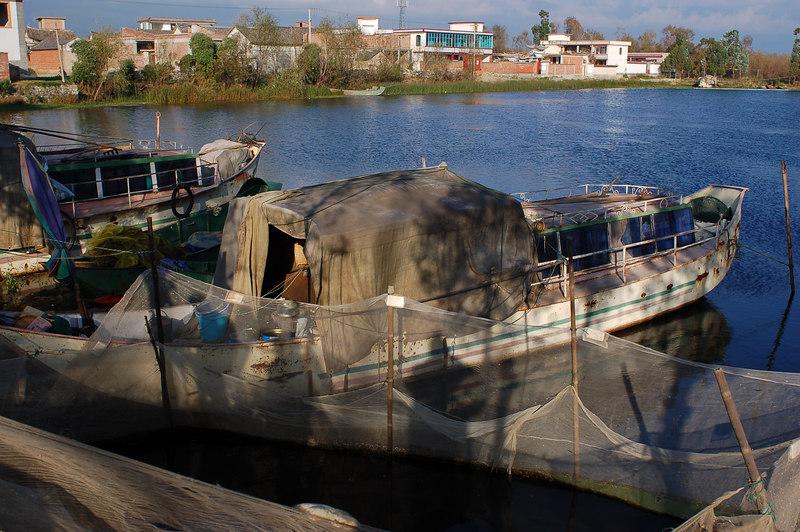 Fisherman's houseboat next to cormorant pen