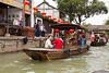 Boats in the canals of Zhujiajiao village near Shanghai, China, Asia.