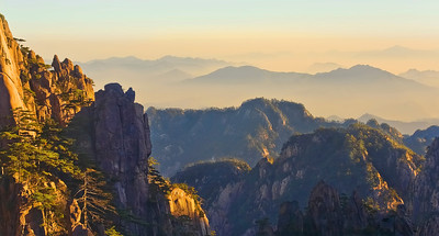 "Warm Sunrise in Huang Shan. 26"" x 14"""