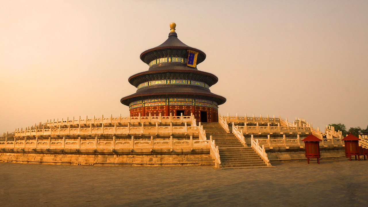 """Temple of Heaven at Dusk.    27"""" x 15"""""""