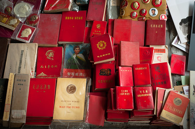 Red books and Communist literature for sale, Panjiyuan market, Beijing, China