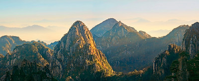 "Break of Day in Huang Shan. 34"" x 14"""