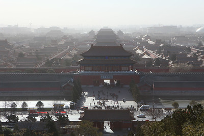 View of the Forbidden City from top of the man-made-hill
