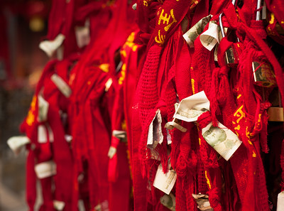 Money and red ribbons, Taishan, China