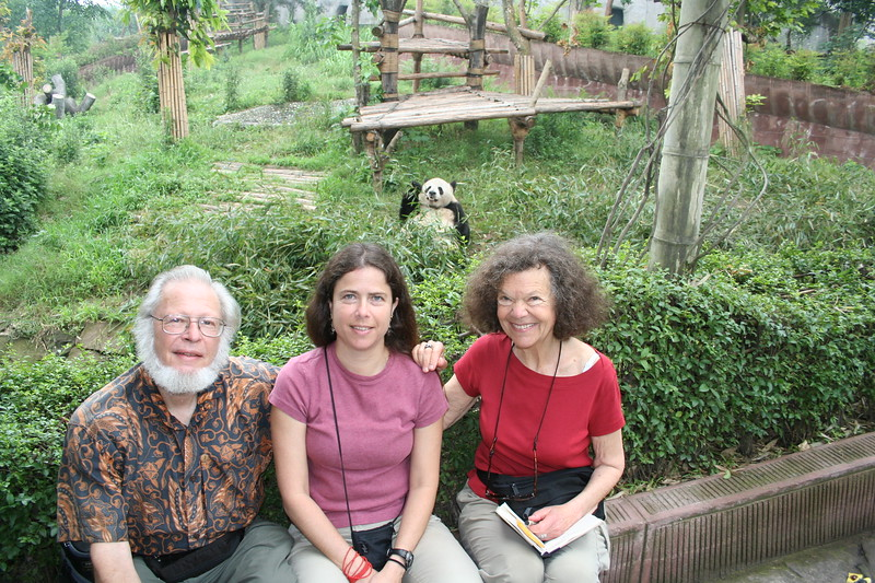 mom, dad, me and a panda