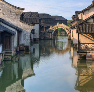 "Wuzhen At Sunrise. 13"" x 13"""