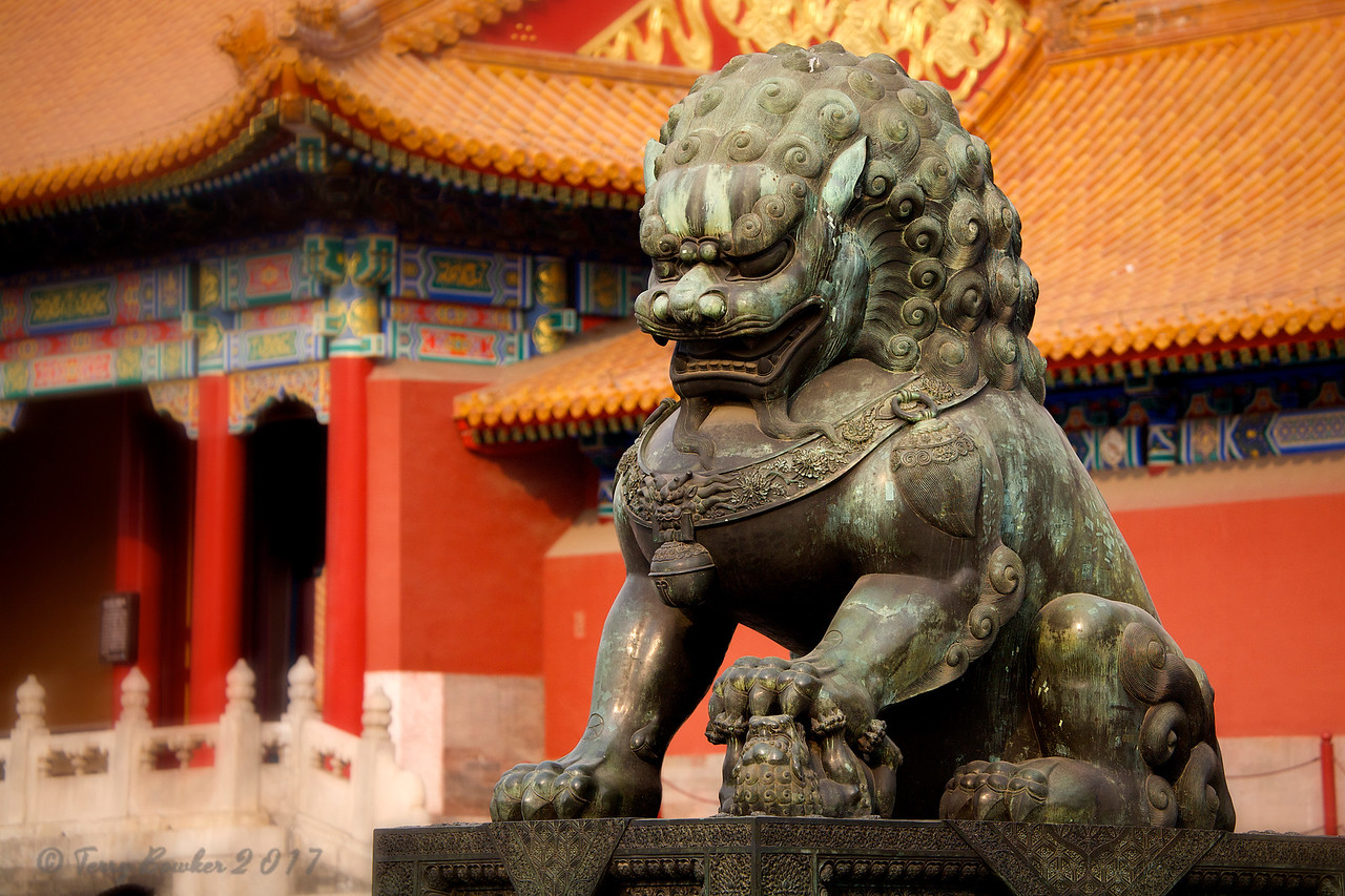 """Forbidden City Beijing.<br /> """"Fo Dogs"""", or """"Lions of Buddha"""", Chinese lions are found outside palaces and temples, and are often carved into the building as door steps, eaves and beam ends."""