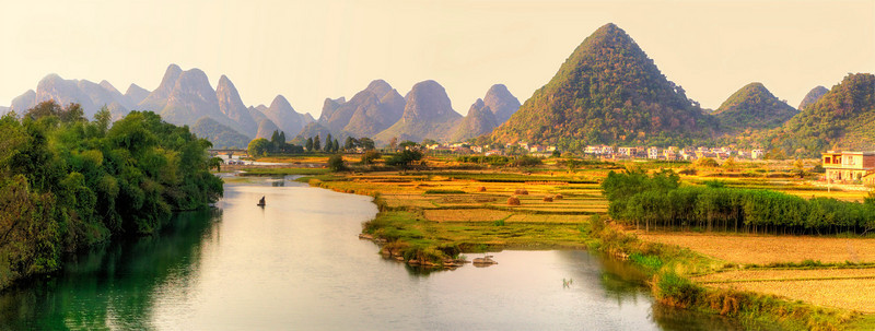 "Yangshuo. View from Yulong Bridge. 37""x14"""