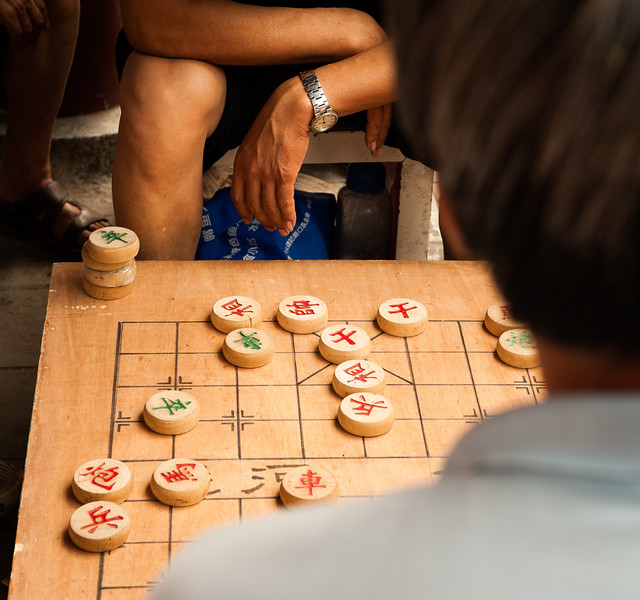Over the shoulder view of Mahjong game, Beijing, China