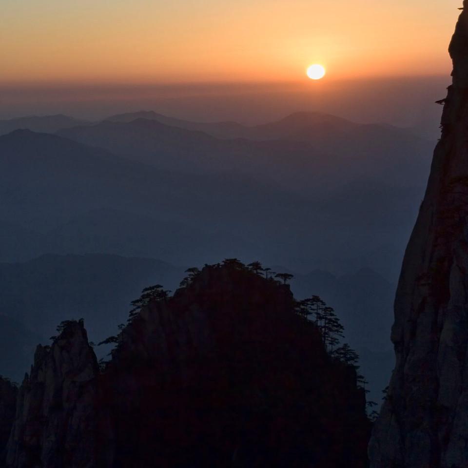 """Huang Shan. Sunset. 13"""" x 13""""."""