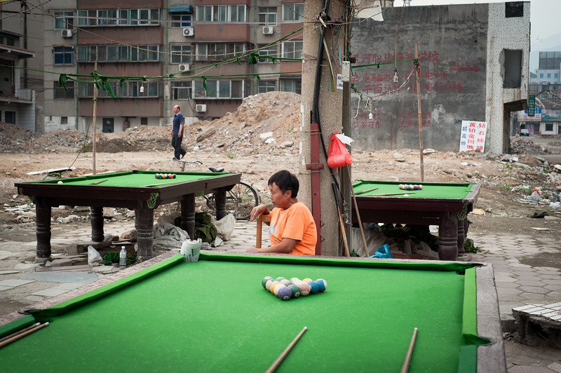 Guarding the outdoor snooker / pool tables, China