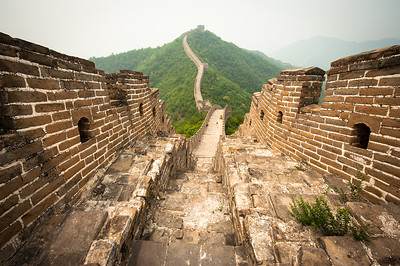 The Great Wall of China snaking into the distance, Beijing, China