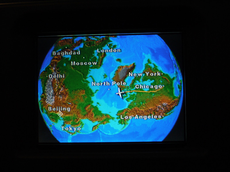 This is the 4-inch screen in the seatback in front of me on the plane from Chicago to Beijing.  Weird view, huh!<br /> Right over the North Pole.