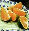 A delicious orange in the Peking Duck restaurant in Beijing.  It was dessert.