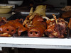 Pig snouts on display at the street market in Fengdu.