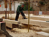 Pine beams, worked by hand.