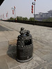 Fancy plastic trash can on top of the city wall in Xian.