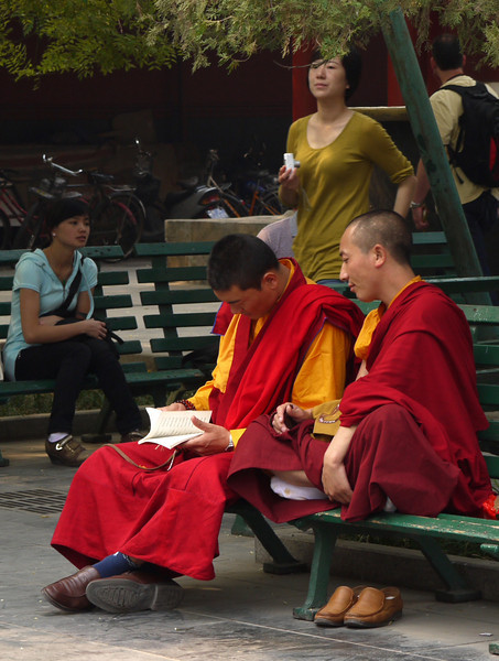 Tibetan Buddhist monks -- in Beijing.