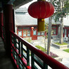 Red lanterns everywhere.   One and two-story sections of the hotel.