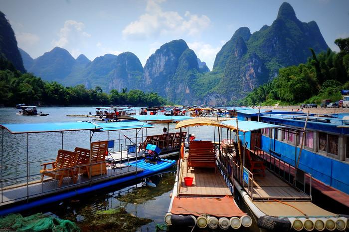 "The plastic ""bamboo"" rafts that take you down the Li River."