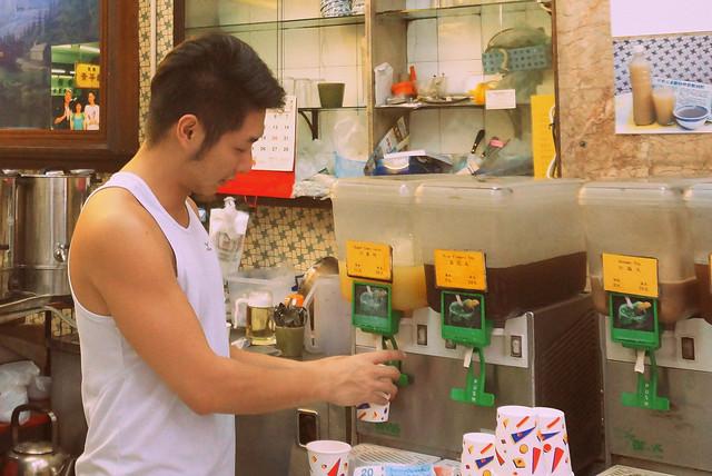 Sugar cane juice shop in Hong Kong.