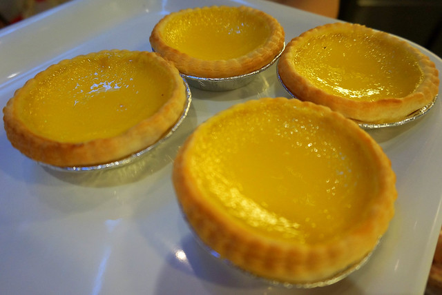 Freshly baked egg tarts in Hong Kong; a perfect dessert.