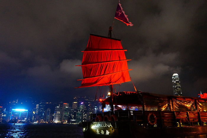 Sailing aboard the Aqua Luna at night in Hong Kong
