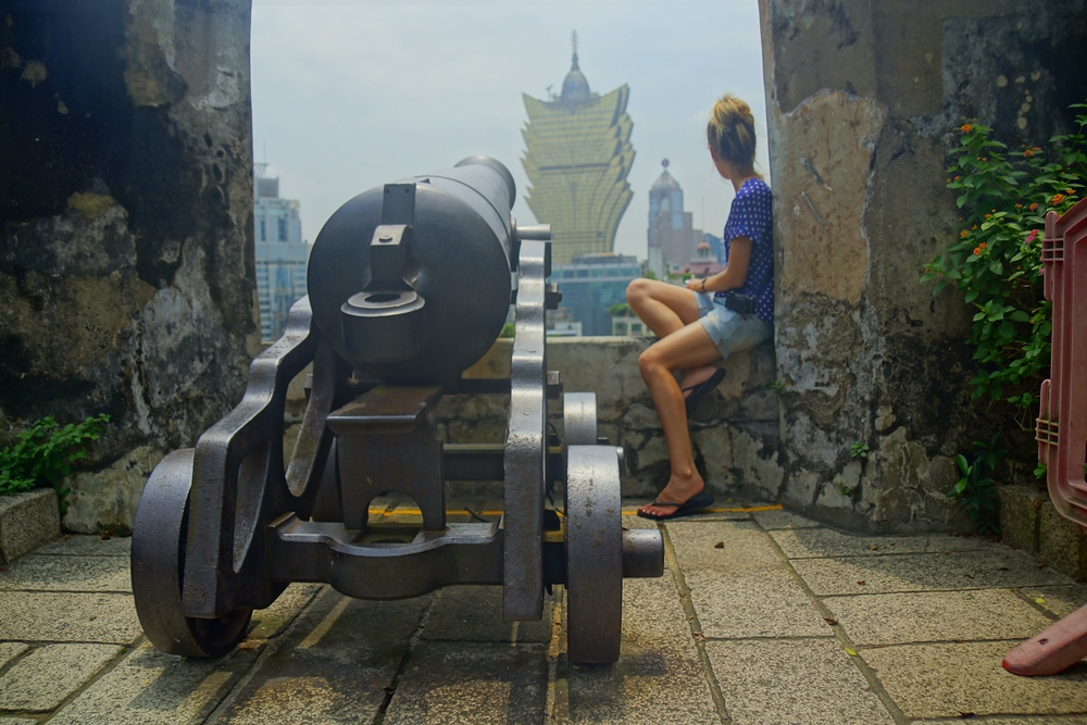 Audrey posing high atop Mount Fortress in Macau, China