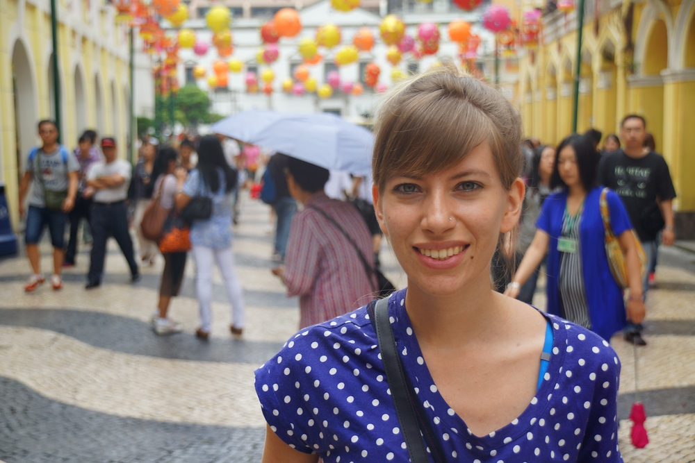Audrey posing at Senado Square in Macau, China