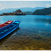 Lugu Lake_boats_Lige Peninsula_oil painting effect