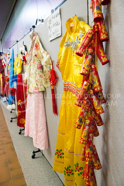 Traditional Chinese clothing on display at the Chinese culture fair at Fiedler Hall on Jan. 28th, 2017. ( Kelly Pham | The Collegian)