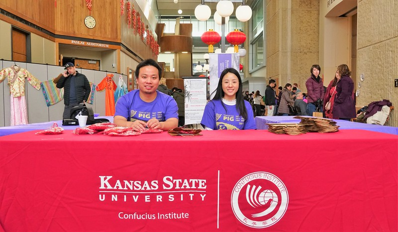 WangCong Zheng and Jia Ruijie from the Confucious Institute receiving visitors at the Chinese Culture Fair, held this Saturday, Feb 9, 2019 at KSU (Gabriela Faraone | Collegian Media Group)