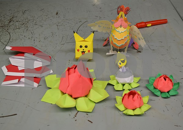 Students complete origami designs like the ones pictured during Startalk's Chinese language immersion program.