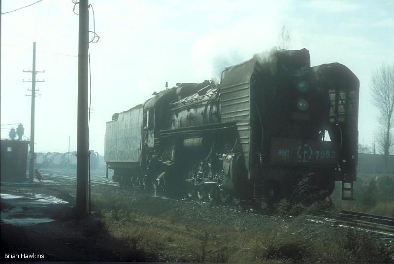 QJ 7053 Dongsheng locomotive depot. 1st November 2001