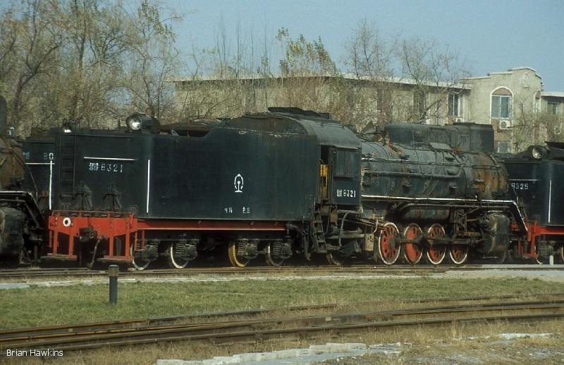 JS 8321 Baotou Xi locomotive depot. 2nd November 2001