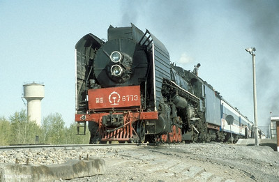 QJ 6773 is seen at Kailu at the head of Train 6053/52 (11:35 Tongliao – Jining Nan). 23rd September 2002