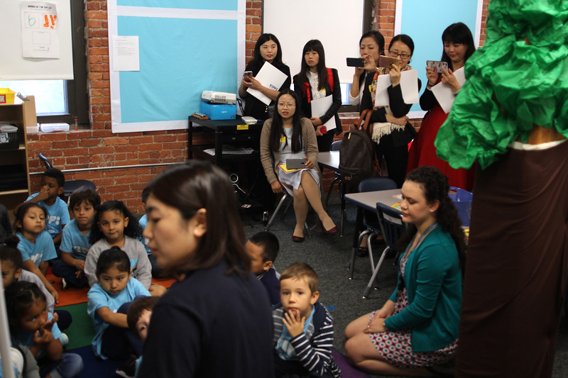 Lynn, Ma. 9-18-17. Johee Beik's kindergarden class being observed by principals from China as they toured the building today.