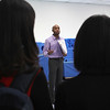 Lynn, Ma. 9-18-17. Justin Davis, the acting pirncipal at KIPP Academy, during orientation of the guests from China who toured the school today.