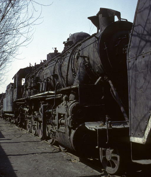 Out of use DK1 2-10-0 31, Shenyang shed, March 1982.  Photo by Les Tindall.