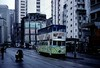 Tram 3, Western Market terminus, Hong Kong, March 1982.   Photo by Les Tindall.