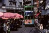 Tram 24 pasing market stalls as it approaches Percival Street depot, Hong Kong, March 1982.   Photo by Les Tindall.