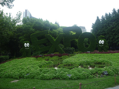 Krzaki w centrum reklamujÄ… Expo
