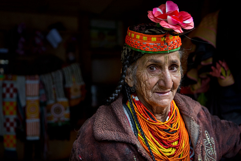 Kalasha lady in a shop.
