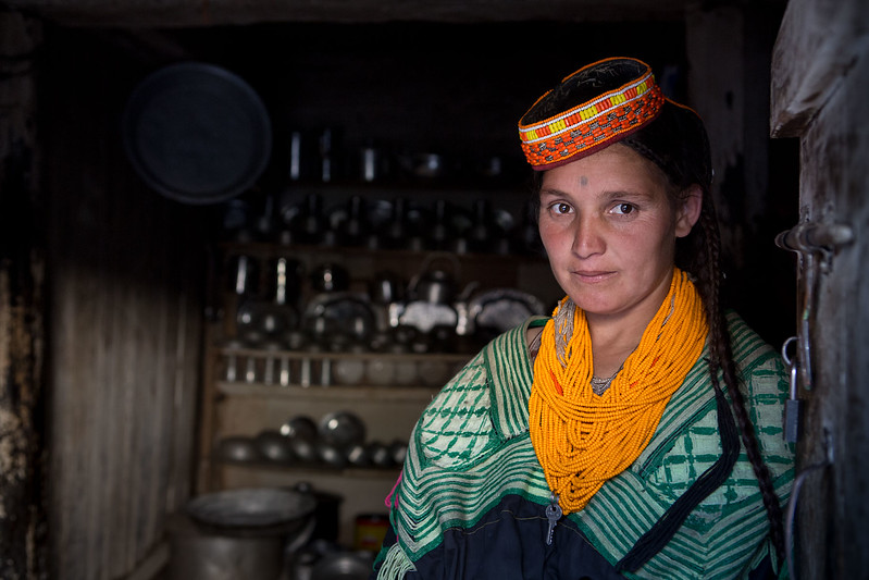 A Kalasha lady and the family kitchen.