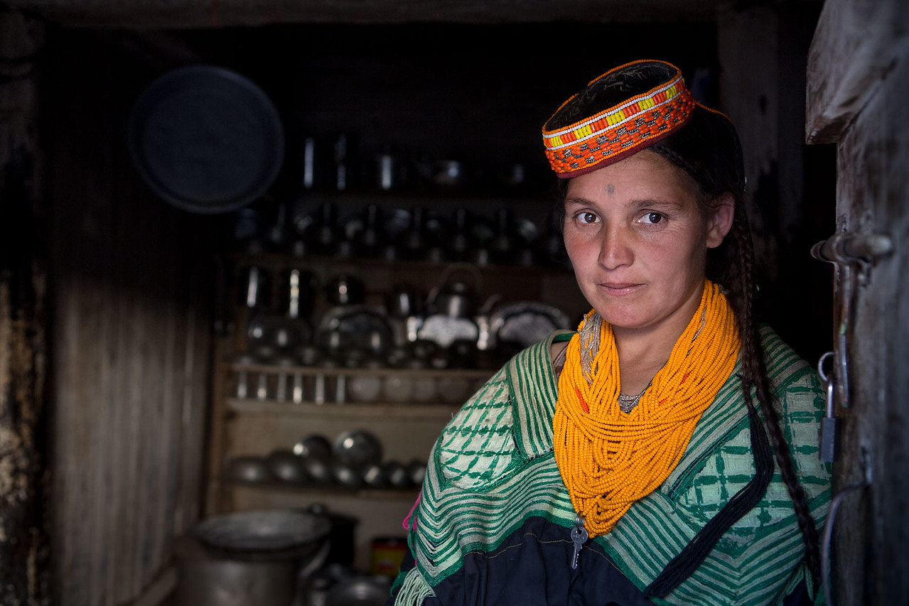 Kalasha lady in the family kitchen.