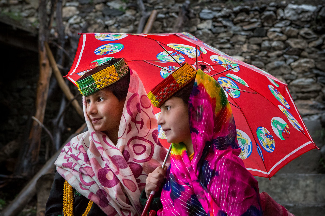 Kalasha girls. Ready for school.
