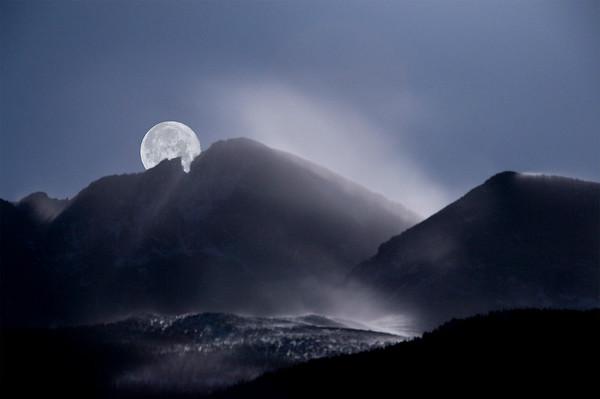 Moon over Longs Peak, Blowing Snow, Colorado
