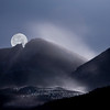 Moon over Longs Peak, Blowing Snow, Colorado